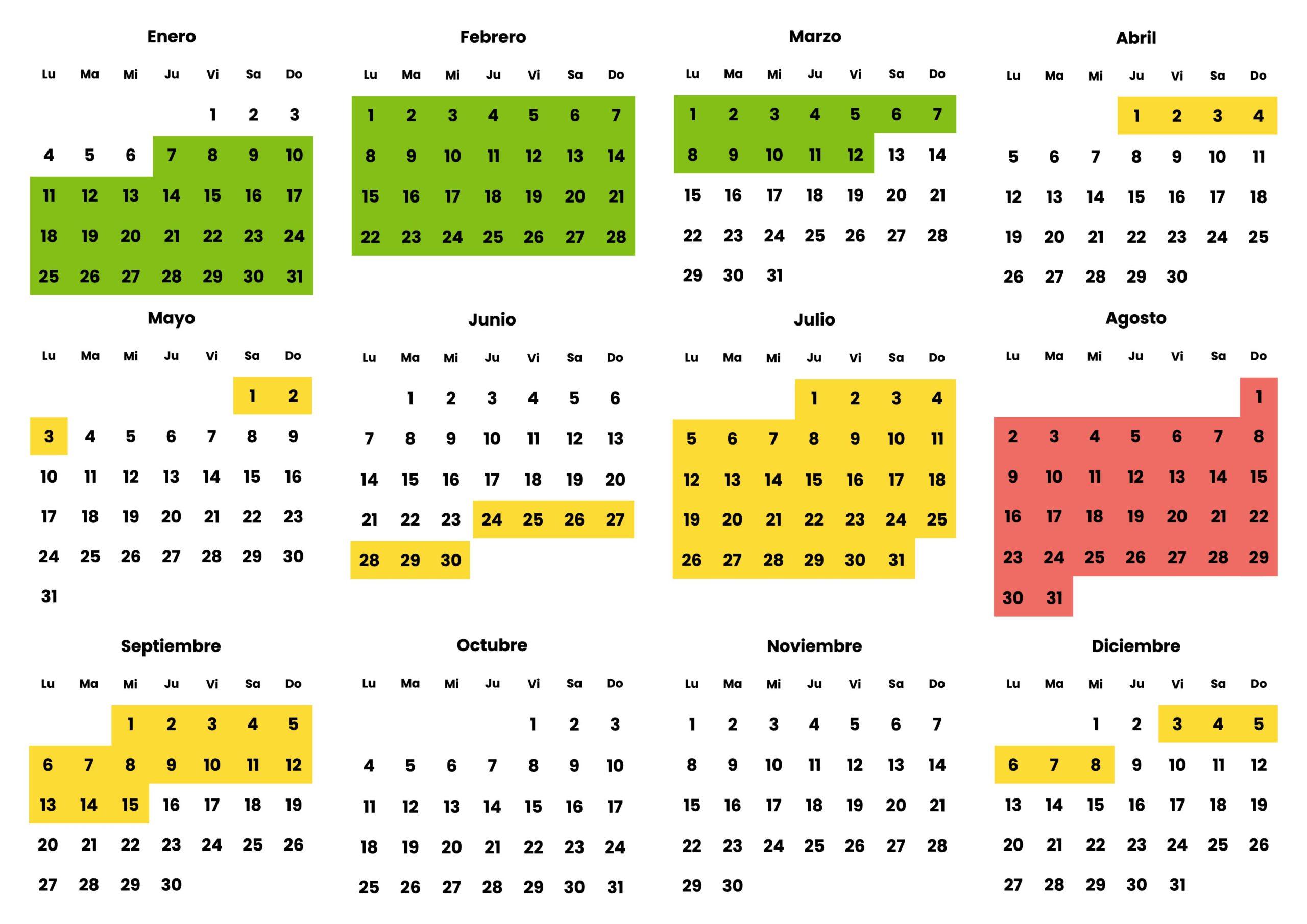 Calendario Madrid 2021